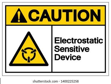 Caution Electrostatic Sensitive Device (ESD) Symbol Sign, Vector Illustration, Isolate On White Background Label .EPS10