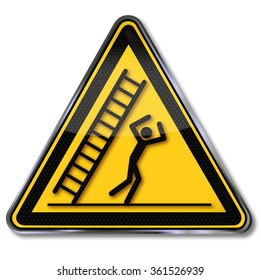 Caution falling ladder and unhappiness