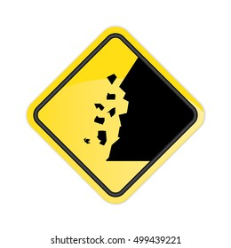 Caution falling rocks Sign.Vector