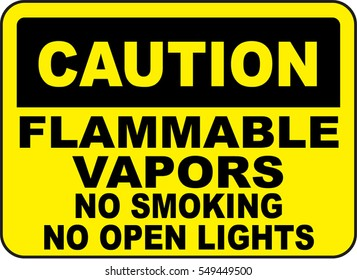 caution flammable vapors no smoking no open lights
