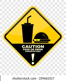 caution with food or drink prohibited