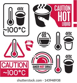 Caution hot sign. Hot coffee.