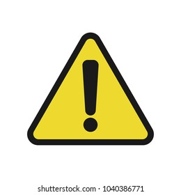 CAUTION ICON. Black exclamation mark on yellow triangle sign. Vector.