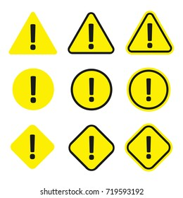 Caution icon set. Warning yellow symbol, caution and alert information. Caution sign in flat style cartoon illustration isolated on white background.