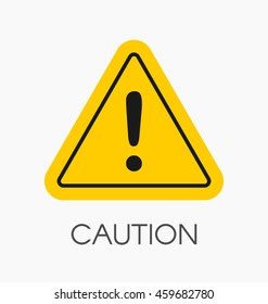 Caution icon / sign in flat style isolated. Warning symbol for your web site