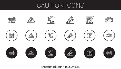 caution icons set. Collection of caution with traffic barrier, nuclear, landslide, fragile, poison. Editable and scalable caution icons.