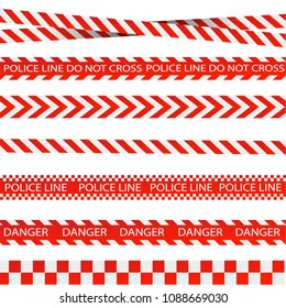 Caution lines isolated. Warning tapes. Danger signs. Vector illustrationEPS 10
