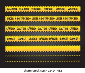 caution lines over black background vector illustration