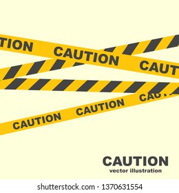 Caution lines. Yellow ribbons. Warning tapes. Danger signs. Vector illustration flat design. Isolated on white background. Police line. The symbol prohibits the passage of strangers.