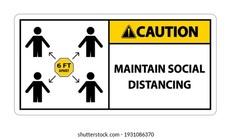 Caution Maintain social distancing, stay 6ft apart sign,coronavirus COVID-19 Sign Isolate On White Background,Vector Illustration EPS.10
