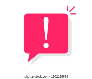 Caution notice warning message bubble icon vector, danger important information notification symbol, attention alert icon mark with exclamation sign flat cartoon, info error announce comment