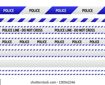 Caution police line and danger tapes on white background. Vector illustration.