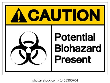Caution Potential Biohazard Present Symbol Sign, Vector Illustration, Isolated On White Background Label. EPS10
