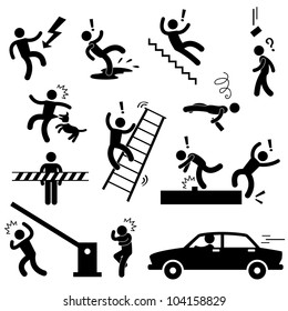 Caution Safety Danger Electricity Shock Slippery Fall Car Accident Icon Sign Symbol Pictogram