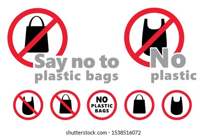 Caution Say no to plastic bag bags bottles bottle Vector icon icons sign fun funny safe planet oceans safety first No Ban stop Pollution problem ecology Ecological environmental save world concept