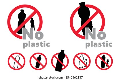 Caution Say no to plastic bottles bottle Vector icon icons sign fun funny safe planet oceans safety first No Ban stop Pollution problem ecology Ecological save world concept drink drinks cup cups
