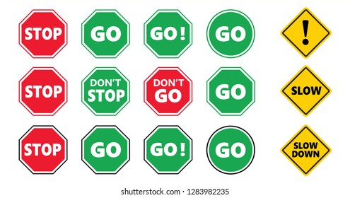 Caution school kids, stop and go area sign and slow down icon Do not enter or cross zone signs Don't stop dont entry road No walk or walking icons Traffic halt pictogram Safety first to pass over
