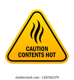 Caution sign contents hot, vector illustration on white background