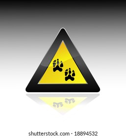 caution sign with paw. vector