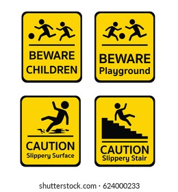 Caution Stairs Warning Yellow Triangle Slippery. Caution Sign Or Pedestrian  Sign Vector Flat Design Icon Style, Beware Children, Playground,