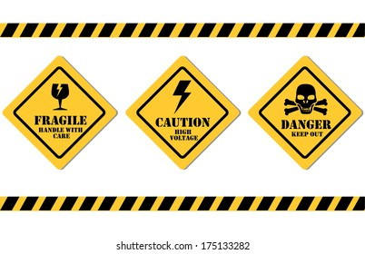 caution signals over white background vector illustration