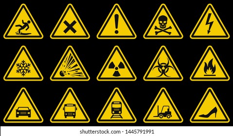 Caution signs: danger, flammable, electricity, poison, toxins, explosive, moving vehicles. Warns worker about the possible hazard and need to use personal protective equipment. Set of vector symbols.