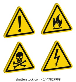 Caution signs: high voltage, flammable, deadly, other hazards. 3D signs isolated on white. Warn about possible danger at work. Vector illustration for articles about accidents.