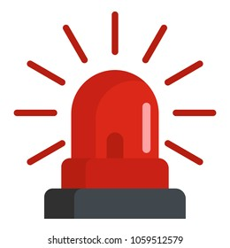 Caution siren icon. Flat illustration of caution siren vector icon for web