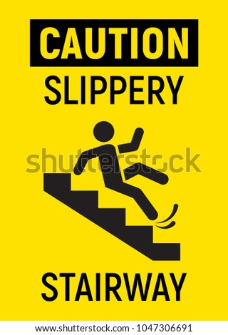 caution slippery stairs vector sign stock vector royalty free