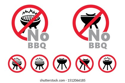 Caution stop no BBQ grill signs Barbecue sign Not allow roasted icons No ban pictogram Vector danger warning icon Prohibition Forbid no open fire flame zone Halt allowed area beware no picnic food