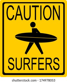caution surfers sign with person holding surfboard