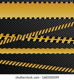 Caution tape on black background. Do not cross texted yellow crossed ribbons with light effect. Warning line in flat style, dangerous zone sign, vector illustration.