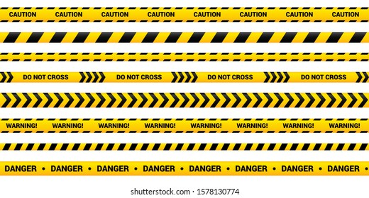 Caution tape set of yellow warning ribbons. Abstract warning lines for police, accident, under construction. Vector danger tape collection.