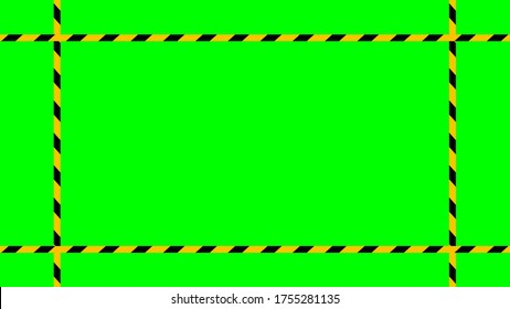 caution tape stripe on green screen background, green screen video and safety strip, warning tape line over green screen colour, ribbon yellow black striped on chroma key screen, vector