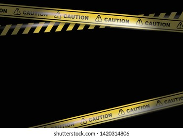 Caution tapes on black background vector image