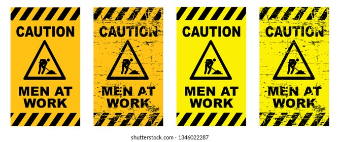 Caution under construction Men at work Work in progress Vector fun funny people worker working signs traffic road sign icon icons Do not enter will soon admittance attention Stripes area Do not enter