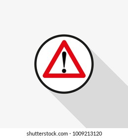 caution vector icon with a long shadow