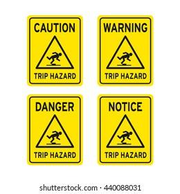 Caution warning danger notice tripping hazard watch your step sign vector set