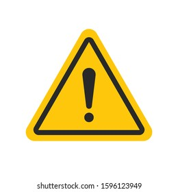 Caution warning sign message. Editable triangle hazard symbol vector icon with stroke for 64x64 pixel design. A flat yellow symbol with exclamation mark isolated on white background. Danger notice.