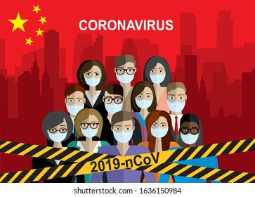 Caution warning strip. Coronavirus! Chinese coronavirus 2019-nCoV. Group of people wearing medical masks. Dangerous chinese nCoV coronavirus, SARS pandemic risk alert. Vector illustration