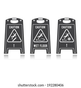 Caution wet floor, black and white, vector
