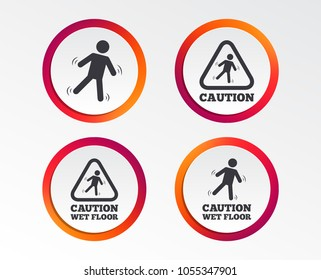 Caution wet floor icons. Human falling triangle symbol. Slippery surface sign. Infographic design buttons. Circle templates. Vector