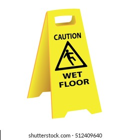 caution wet floor sign board vector illustrations