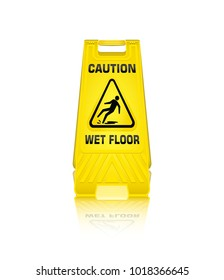 Caution wet floor sign isolated on white background, Security Warning, Plastic yellow, Vector, EPS10