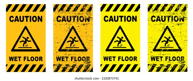 Caution wet floor sign slippery floor sign signs stop danger warning attention stop vector icon symbool Beware warning attention ice watch your step steps fun funny  traffic road  footstep walk route