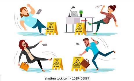 Caution Wet Floor Sign Vector. People Slips On Wet Floor. Situation In Office. Danger Sign. Clean Wet Floor. Isolated Flat Cartoon Character Illustration