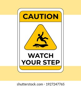 Caution Wet Floor, Slippery And Warning For Pedestrian Sign In Vector, Easy To Use And Print Design Templates