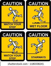 caution, wet floor, step, stairways