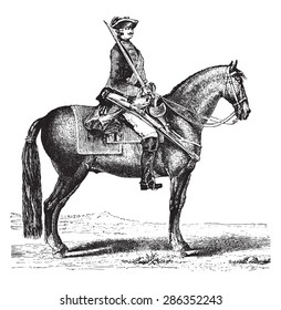 The Cavalier, after the Monsigny (1766), vintage engraved illustration. Industrial encyclopedia E.-O. Lami - 1875.