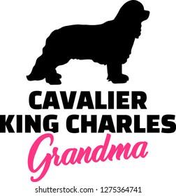Cavalier King Charles Grandma silhouette in black